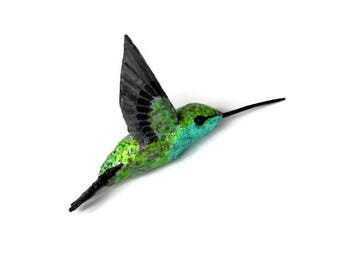 Paper machè Art Hummingbird  figurine decoration bird