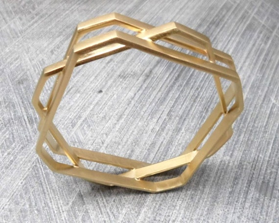 Christmas Sale: Geometric Gold Bracelet, 3 Layered Octagonal Bangles, Statement, Boho, Trendy, Urban