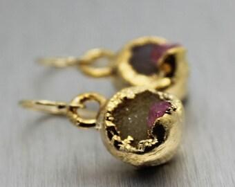 SUMMER SALE druzy earrings, tourmaline earrings, dangle earrings, gold earrings, crystal earrings, pink tourmaline, gifts for her