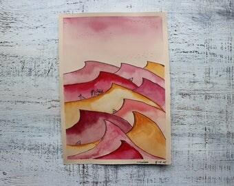 Original watercolor painting sea cartoon wall art 7x10 seascape