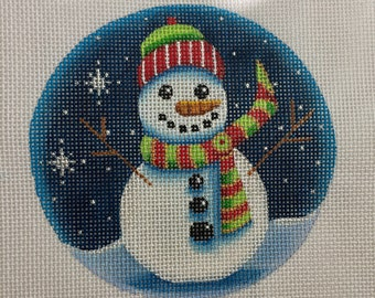 "Hand Painted Needlepoint Canvas Happy Snowman Green 4"" Ornament 18 count"