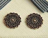 10pcs  antique red copper  plating  cab  pendant finding