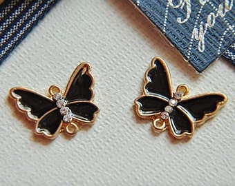 6pcs  Alloy dripping diamonds butterfly    pendant finding