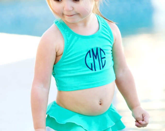 Monogrammed Swimsuit, Kids Swimsuit, Monogram Swimsuit for Girls, Toddler swimsuit, Monogrammed Swimsuit
