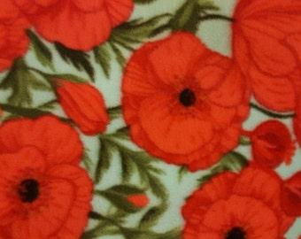 Red Flowers Fleece Tie Blanket