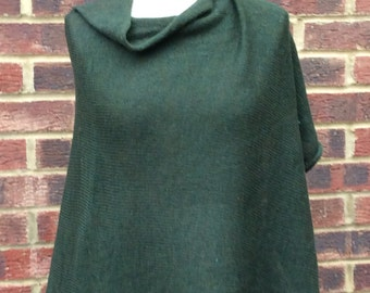 Green Wool Poncho - Green Knit Cape - Green Lambswool Poncho - Green Cape Coat - Green Knit Wrap - Womans Green Poncho - Green Cape