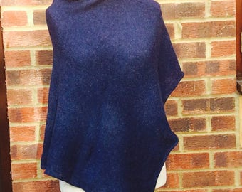 Womans  Wool Poncho - Navy Knit Cape Coat ,Scottish Lambswool Cape, Oversized Navy Wrap  Womans Poncho , Navy Blue Poncho Wrap