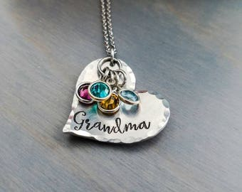 Grandmother gift - personalized necklace for grandma - grandkids birthstone necklace - mother's day gift - birthstone necklace for grandma