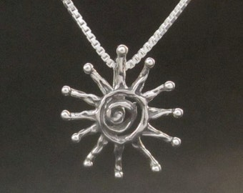 Silver Spiral Sun pendant necklace recycled Sterling Silver handmade in USA