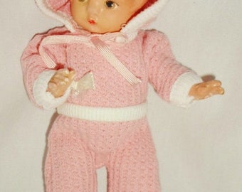 ON SALE Vintage 1930s Effanbee Patsyette Composition Doll, Dress In A Pink & White Knit Onesie And Bonnet, Girl Baby Doll, Doll Collector, S
