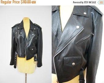 Bringing Home Baby SALE: Vintage 80s Black Leather Moto Jacket Motorcycle Coat Rocker Zipper Belted Womens