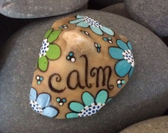 Painted sea shell - CALM - seashell - turquoise daisies flowers - stocking stuffer - conch