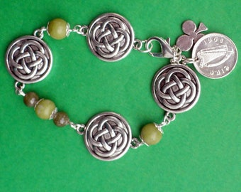 A Mother's Day Celtic Charm Bracelet of Irish Connemara Marble and Celtic Knot Charms, With Harp and Shamrock Charms