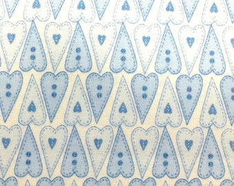 Blue Hearts Hearts - Basically Hugs - Cotton Fabric - Red Rooster Fabrics - HEART-03