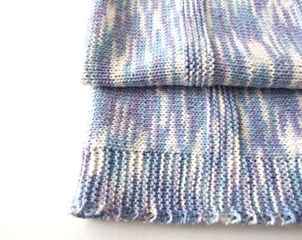 white blue violet baby blanket, handknitted, cotton and viscose,