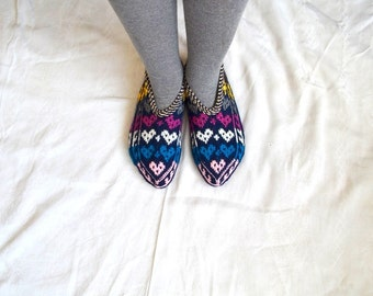 knit slippers, love heart Turkish Knitted Socks Slippers, woman slippers, knitted home shoes, gift for woman house shoes christmas gifts