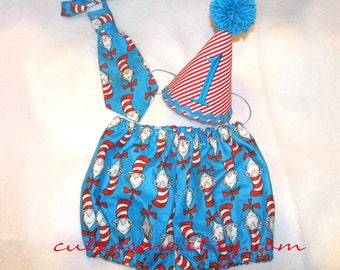 Cake Smash Outfit 1, 2, or 3 Piece Set Cat In The Hat Bloomers First Birthday Outfit Diaper Cover Tie Hat Necktie Pantie Pants Nappy Shorts