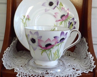 Shelley China Anemones Windsor Shape Cup and Saucer 1959-1964 Afternoon Tea
