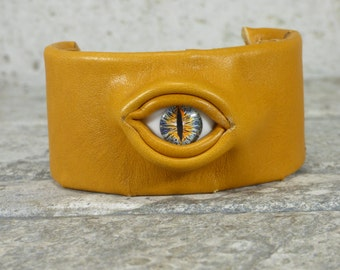 Wrist Cuff Adjustable Deep Golden Yellow Leather Wrist Band Evil Eye Burning Man