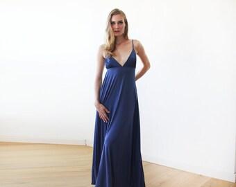 Maxi deep V-neck blue dress,  blue minimalist maxi dress 1093