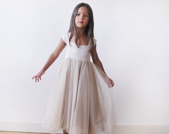 Champagne Princess tulle dress, Princess dress with bow at back, Flower girl tulle dress 5006
