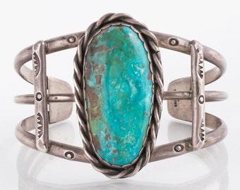 Turquoise Cuff - Vintage Native American Large Bezel Set Turquoise Cuff Bracelet