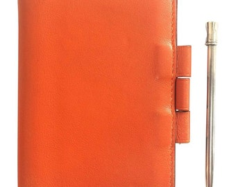 Vintage HERMES  genuine orange leather diary, schedule book cover PM with silver mechanical pencil. Perfect professional stationery.