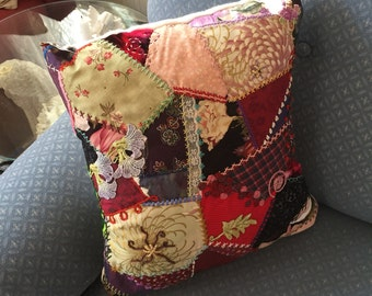 Crazy Quilted  Decorative Throw Pillow Hand Embroidered Boho Gypsy Fabric Collage