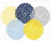50% OFF  - Clipart - Dahlia Flowers (Navy, Blue, Yellow, Grey) - Digital Clip Art (Instant Download)