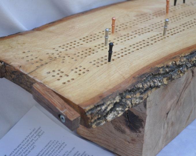 White oak reclaimed live edge 3 lane cribbage board All American made #3