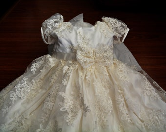 Baptism Gown Beaded Lace Christening Gown, Baptism Dress Set