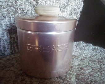 Vintage Grease Container - Mirro Aluminium Grease Container - Grease Canister - Three Piece Grease Container