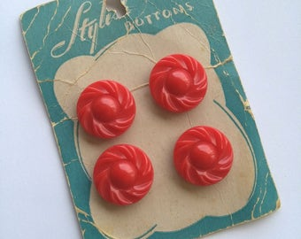 Vintage card bright red fifties buttons