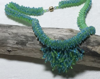 Bead Fringe Necklace Fringe Necklace Green Blue Necklace Green Bead Necklace Seed Bead Necklace Beadwoven Necklace Beadwork Necklace