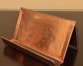 Raw Square Hammered Copper Business Card Holder