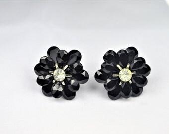 Black Flower Earrings -  Screwback Black Flowers with Rhinestone Center   -   E2448a-122416000