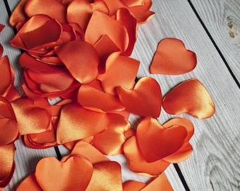Heart shaped PUMPKIN satin rose petals, flower petals, for wedding, anniversary, date night, 102 artificial petals, ready to ship