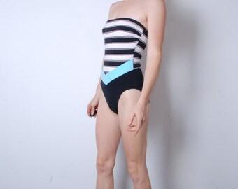 VERKOOP 80s middellange leotard zwarte en witte strepen blauw chevron strapless Romper jantzen 90s womens vintage kleding hoge dij sportkleding