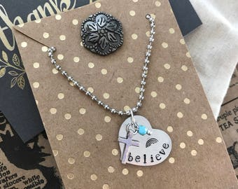 Hand Stamped Believe Necklace with Rainbow