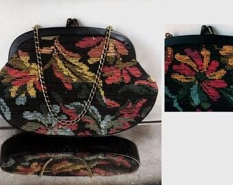 Vintage Floral Needlepoint Purse Tapestry Purse Pettipoint Purse vintage purse vintage purse floral purse vintage handbag shoulder bag
