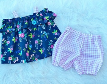 Off The Shoulder Cold Shoulder Ruffle Top and Bloomers Set Floral Spring Outfit