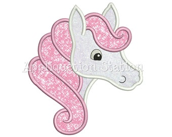 Horse with Swirly Mane Applique Machine Embroidery Design head profile Girl Cute beautiful dream animal INSTANT DOWNLOAD