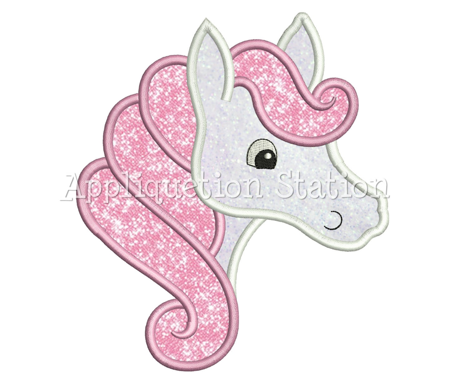 Horse with swirly mane applique machine embroidery design head