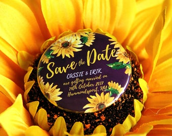 SUNFLOWER design - Save the Date / Wedding Favour Magnets x 40