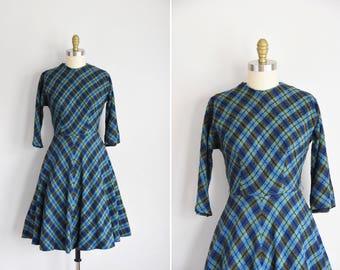 50s Modern Society dress / vintage 1950s plaid daydress/ blue and green wool dress