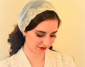 Christian Head Covering - SCT38 - Spa Blue Covering with Floral Embroidery and Rose Pink Ties