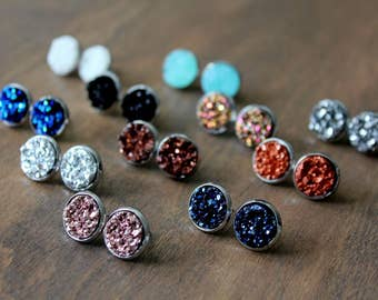 Druzy Stud Earrings, Surgical Steel Stud Earrings, Stainless Steel, Druzy Earrings, Druzy Studs, Rose Gold Studs, Silver Studs, Gold Studs