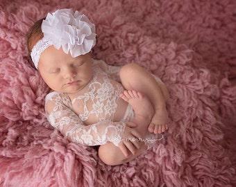 Newborn romper, newborn photo prop, baby romper, baby photo prop, newborn lace romper, lace baby romper, white newborn romper, ivory romper