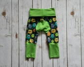 Miniloones Grow With Me Pants Lime Silly Monsters Baby Pants