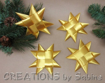 "Gold Stars Christmas Decoration Flat Ribbon Stars Set of 4 Star 6"" Origami Table Decor Folded Decoration Froebel READY TO SHIP (113)"